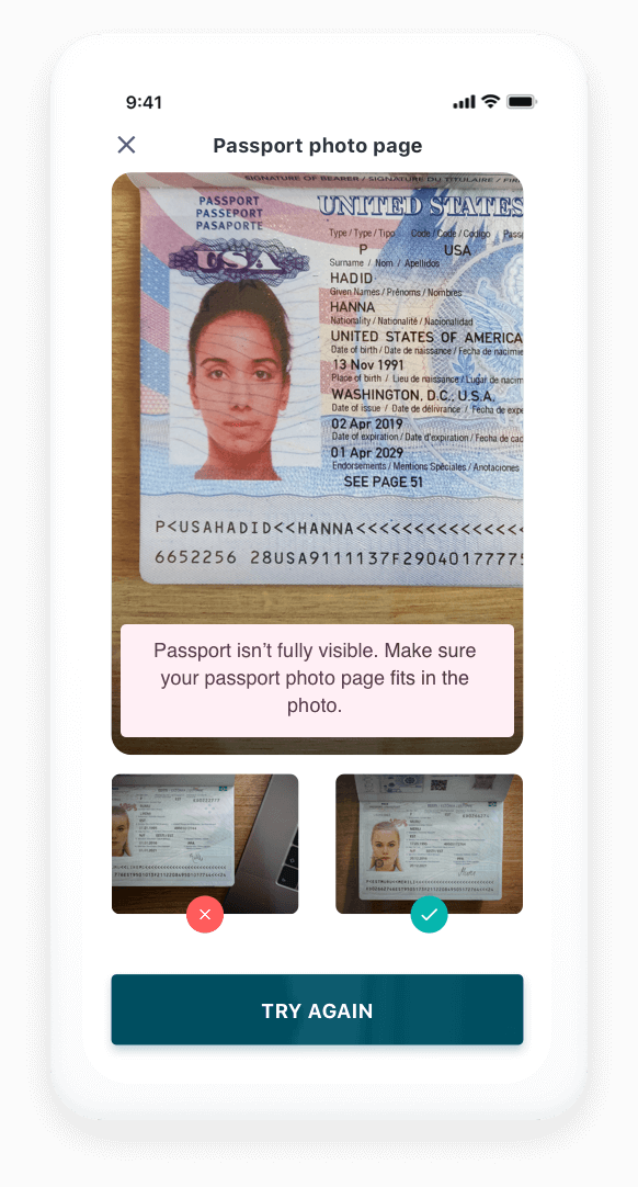 Confirm that the selfie is clear ID verification flow screen